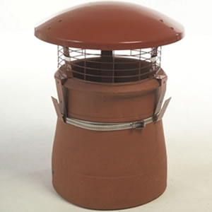 Standard Terracotta Chimney Rain Cowl - Aluminium Strap Fixing